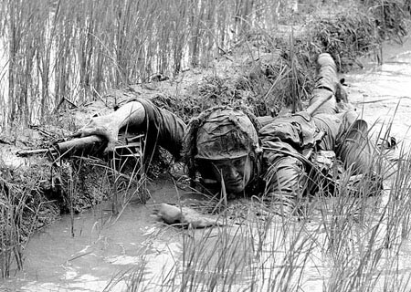 1st Air cavalry under fire beside rice paddy dike