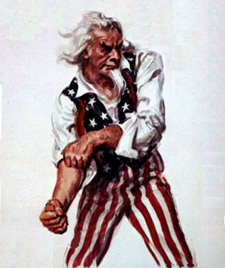 Uncle Sam rolling up his sleeves for the fight