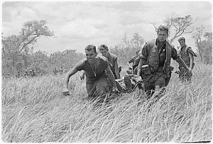 Marines carrying wounded